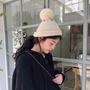 【問香坊】帽子 圍脖 韓版 壹帽兩用可當圍脖 日系可愛毛球毛線帽子女秋冬素色百搭針織帽學生時髦毛帽