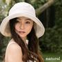 (086)日本(QUEEN-HEAD)抗UV天然素材優雅寬緣防曬帽(白/條紋色)