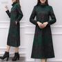 日韓系❃✶☜2019冬裝加厚加絨保暖長裙大碼顯瘦修身打底裙媽媽過膝印花連衣裙