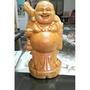 周年慶特價台灣檜木中型彌勒佛財神爺雕工美肚子帶財眼