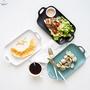 【現貨秒出】摩登主婦 日式磨砂陶瓷雙耳菜盤 西餐盤牛排盤家用長方形盤子沙拉盤