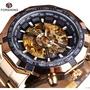 03 自動機械錶 FORSINING玫瑰金殼黑面 男錶手錶男士機械錶全自動防水鏤空精鋼帶時尚新款男生男錶鏤空手錶 腕錶