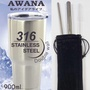 AWANA 經典316風暴杯+316不鏽鋼吸管4件組