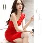 歐美🌹 露肩 性感 合身 洋裝 2色 🎀伴娘服 小禮服 👰喜宴穿搭 婚宴服 紅色 尾牙 ZRNJ1112
