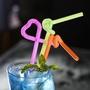 hyw9988】一次性藝術吸管彩色 造型果汁飲料奶茶長吸管 酒吧雞尾酒吸管80支