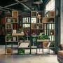 屏風 美式鐵藝實木屏風隔斷工業風玄關書架復古儲物柜置物架LOFT展示架