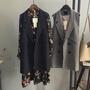 【VANN】新品韓版條紋雙排扣中長版西裝背心馬甲無袖外套女