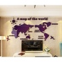 【預購】世界地圖壓克力3D立體牆貼-紫(共五種尺寸)(600元)