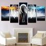 油畫高清印花帆布畫布牆畫現代動漫畫5件套家居裝飾天使帶翅膀魔鬼女孩海報框架