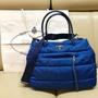 PRADA 尼龍 寶藍色 手提包 斜背包 兩用包 九成新 專櫃正品 藍色 粗背帶