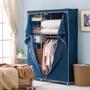 【悠室屋】五層二抽鍍鉻大衣櫥架(附贈布套) 網層拉藍 任意組裝 上下調整 租屋熱愛