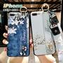 Free Shop 蘋果 IPHONE X/8/7/6 s Plus 系列 日系清新花卉手腕帶設計手機殼 附贈兩條掛繩【QABU30020】