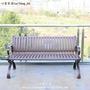 精品生活 公園椅戶外長椅 休閑實木鐵藝靠背椅庭院鑄鋁防腐木長條凳子塑料
