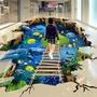 3D墻紙 衛生間防水地貼定做商場活動3d立體創意自粘地貼畫地板貼紙 城市科技 DF