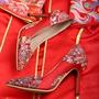 热卖 (36-43)中式婚鞋 民族風 高跟鞋 淺口 結婚鞋 細跟 旗袍鞋 紅色 新娘鞋