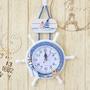 地中海家用客廳實木掛鐘創意兒童房臥室靜音鐘表時鐘 AW14696