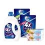 白蘭 4X酵素極淨超濃縮洗衣精1瓶+2補(2.4KG+1.5KGx2) 贈熊寶貝衛生紙2包