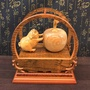 諸事平安 豬是蘋安 台灣檜木 木雕