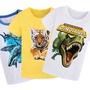 兒童純棉恐龍短袖T恤老虎女男童裝定制小孩寶寶衣服卡通親子裝夏