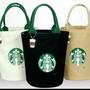 現貨~STARBUCKS厚實帆布袋 圓桶包手提袋(黑色,白色,卡其色,牛仔色)
