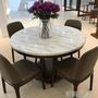 大理石餐桌椅組合現代簡約實木餐桌 圓餐桌圓形北歐餐桌圓桌 初語生活WD