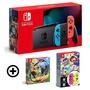 Nintendo Switch 主機 電光紅藍 (電池加強版)+健身環大冒險同捆組+超級瑪利歐派對+Joycon 套裝組合 特殊色/不區分