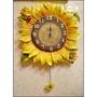 立體波麗製 超大型向日葵瓢蟲擺鐘 造型時鐘藝術掛鐘太陽花壁飾壁鐘營業場所居家客廳布置品【歐舍家飾】