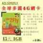 <卡神> 現貨 AIS Sim2fly全球版 15天4GB 網卡 印度 土耳其 奧地利 西班牙 埃及 冰島 法國 阿根廷