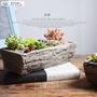 哆咪城堡歐式粗陶花盆長方形做舊仿樹紋條形花盆多拼盆水泥大盆吸水透氣