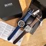 HUGO BOSS男士手錶商務石英表皮質錶帶腕表附禮盒Hugo Boss皮帶行事曆石英表手錶男錶151085