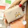 日系簡約可愛卡通柴犬短款錢包 零錢包 學生卡包 皮夾 短夾 手拿包 韓妞必備 交換禮物
