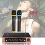 UHF Dual Channel Wireless Microphone System Receiver With LED Display For Home KTV Karaoke Party