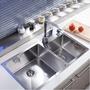 5Cgo【快樂窩】 15961437248不鏽鋼水槽雙槽304右小左大廚房洗菜盆 洗菜池台下盆 FR513