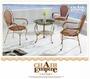 《Chair Empire》一桌三椅 仿藤休閒桌椅 /戶外休閒桌椅/休閒椅/鍛造椅318+534 庭院家具