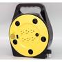 3孔6插座手提型輪座延長線~安全電源捲線器附接地12M(40尺)SP-612