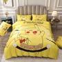 寶可夢皮卡丘水晶絨床包 皮卡丘被套 卡通床包 皮卡丘四件組 磨毛3D印花卡通床包組 單人 雙人床包雙人加大床包