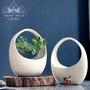 【花花盆】中國風陶瓷花盆白色吊掛式多肉佛珠吊蘭水培居家花園創意擺件新品