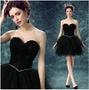 天使嫁衣【AE10069】黑色羽毛特色層次澎紗造型短禮服˙預購訂製款