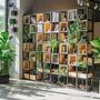 屏風 美式鐵藝實木屏風隔斷工業風玄關書架復古格子架置物架LOFT展示架 時尚芭莎
