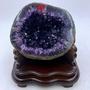 H1002 頂級ESP烏拉圭紫水晶洞 3.1kg(原皮)(綠色瑪瑙邊)高20cm長18cm寬18cm洞深3cm(紫晶洞
