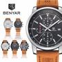 『TRENDY』BENYAR 5102 三眼計時日曆 戶外運動錶 石英錶 真皮手錶 男錶【SB000608】