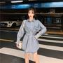 じ⅙2020春季新款韓版牛仔襯衫長袖襯衣中長款外套上衣女設計感小眾潮