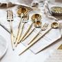 歐式葡萄牙金色不鏽鋼家用西餐刀叉勺筷子四件套牛排餐具套裝全套