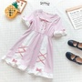 日系☄森林系夏季甜美軟妹風蝴蝶結娃娃領花邊雪紡短袖連身裙洋裝
