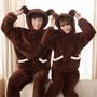 秋冬情侶睡衣加厚羊羔絨套裝連帽長袖可愛純色小熊立體設計長毛絨
