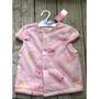 『現貨』全新 日本 西松屋 粉紅色 草莓 兔兔 毛毛 背心 外套 女寶  扣子 短袖 冬天 尺寸80cm
