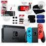 Nintendo Switch  電光紅/灰色 主機+包+殼/握把+類比套+玻璃貼 【精選配件組】台中星光電玩