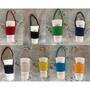 手作雙層帆布~ 純色文青風加厚帆布環保飲料杯袋 環保杯袋飲料杯套  可重複使用的飲料提袋/環保杯套/手提杯套