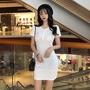 洋裝 洋裝連衣裙 素色洋裝 包臀裙 修身洋裝 修身連衣裙 港風復古chic圓領胸前開扣純色修身包臀打底連衣