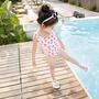 兒童泳衣女孩連體格子草莓寶寶嬰兒女童游泳衣ins公主度假泳裝